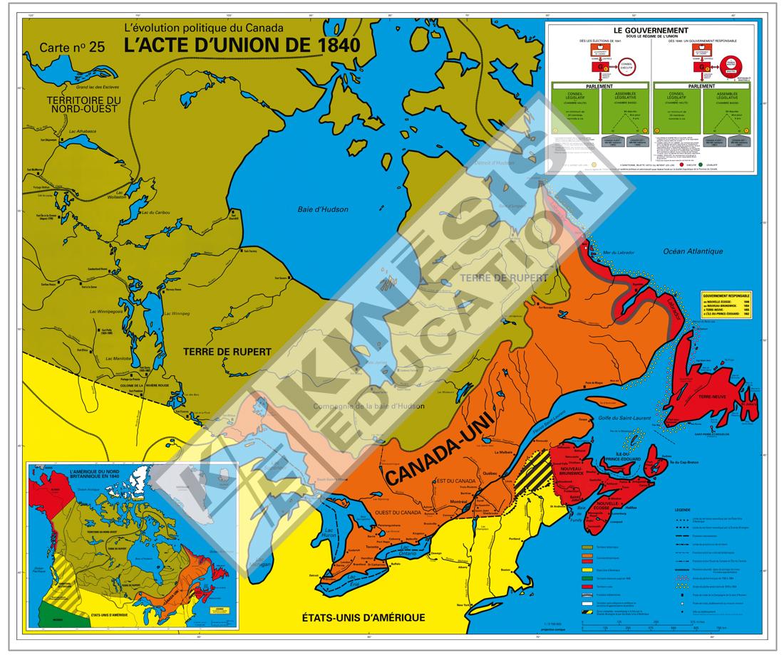 Carte Canada Uni.L Acte D Union De 1840 L Evolution Politique Du Canada Carte