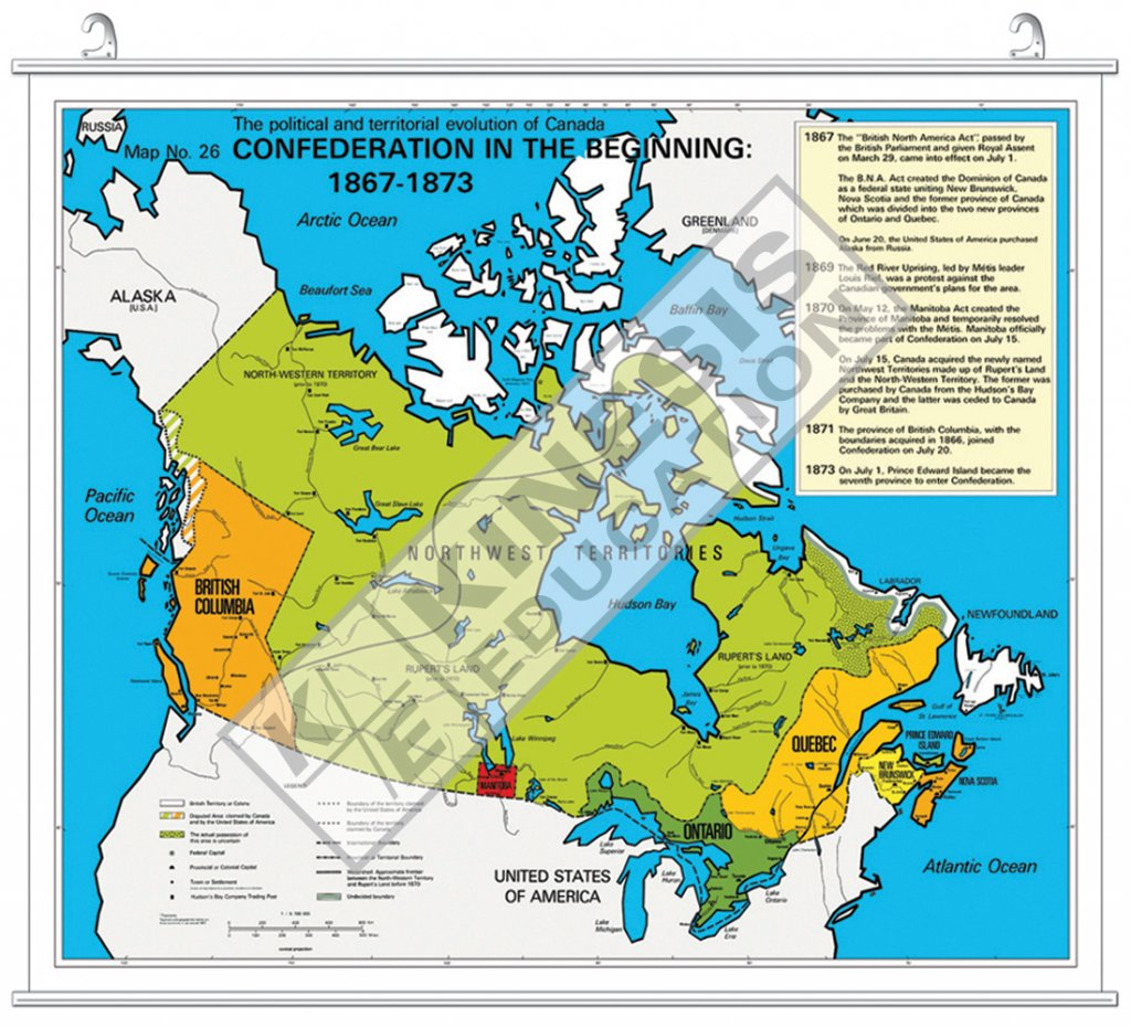 Map Of Canada During Confederation.Confederation In The Beginning 1867 1873 The Political And