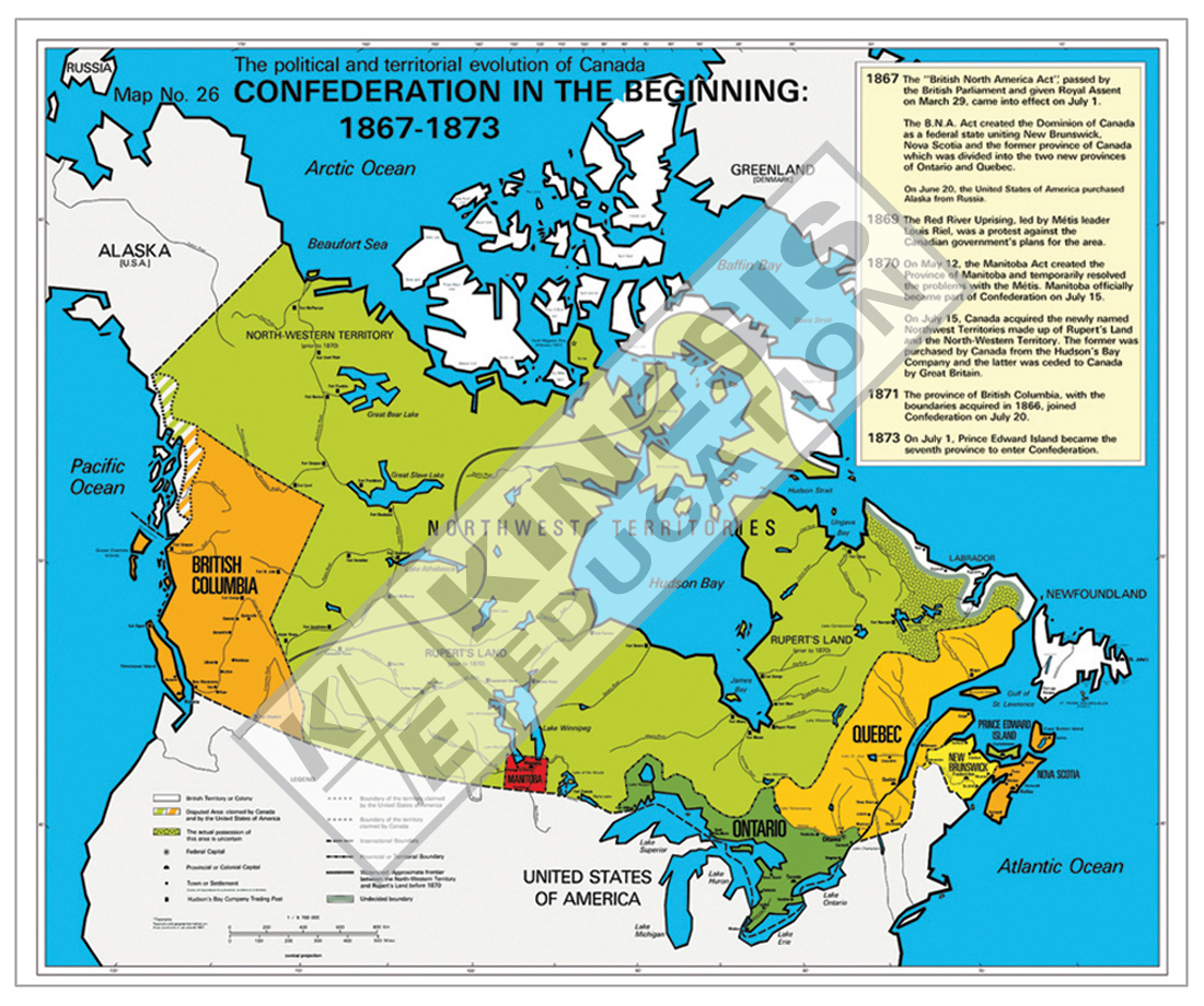 Map Of Canada July 1 1867.Confederation In The Beginning 1867 1873 The Political And