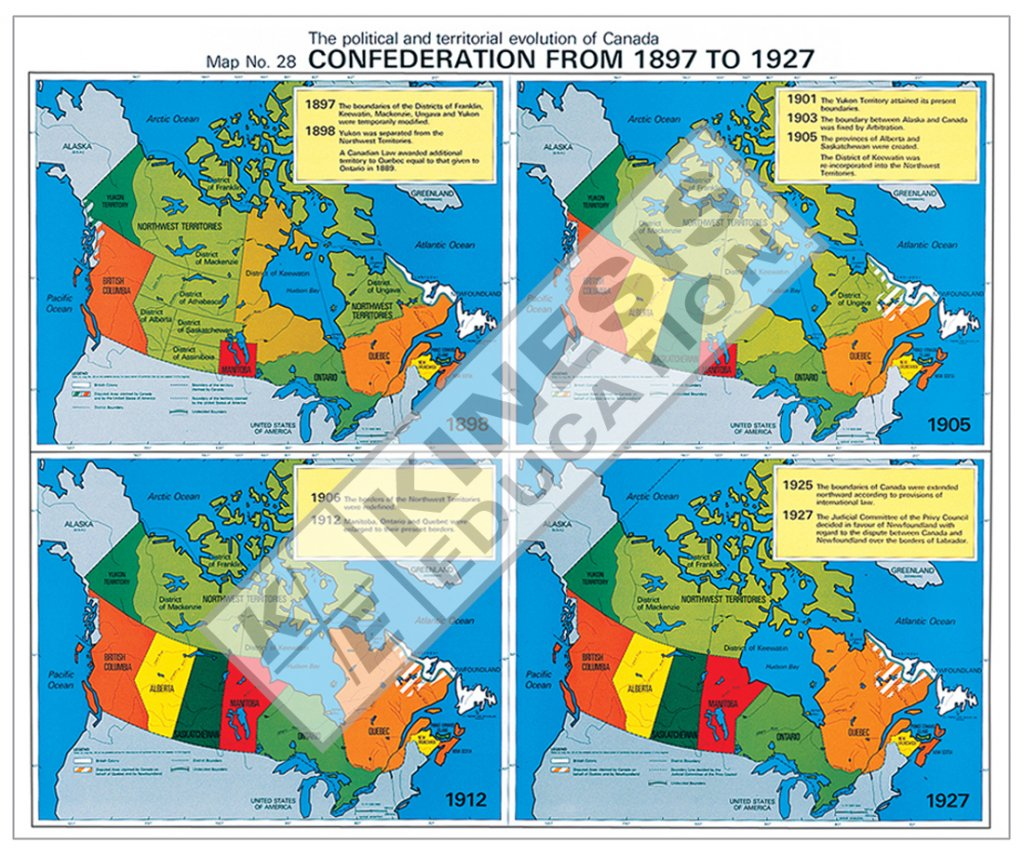 Map Of Canada During Confederation.Confederation From 1897 To 1927 The Political And Territorial