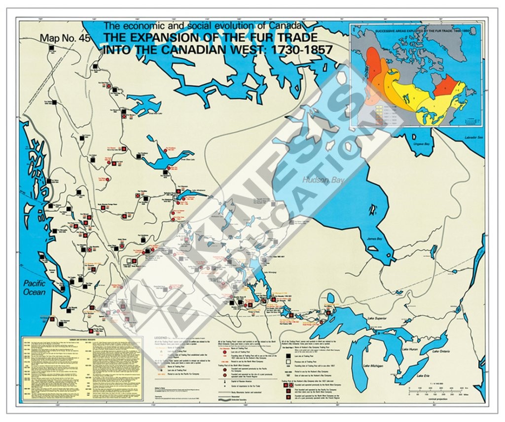 West Of Canada Map.The Expansion Of The Fur Trade Into The Canadian West 1730 1857