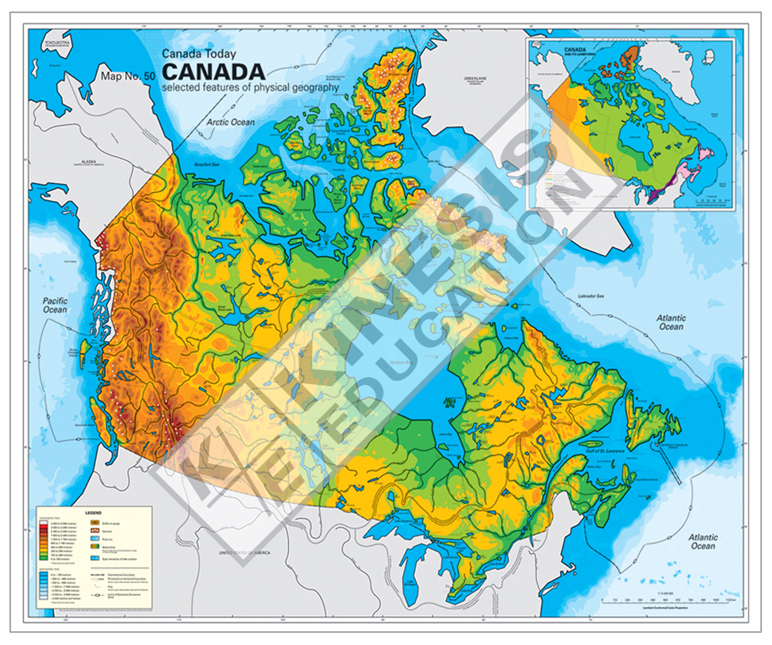 Canada Canada Today Selected Features Of Physical Geography - Physical features of canada map