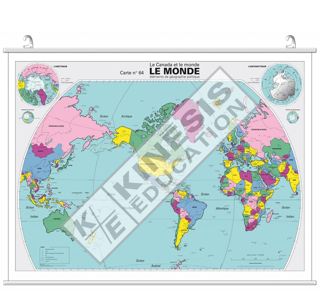 Carte Du Monde Plastifiee.Le Monde Le Canada Et Le Monde Elements De Geographie Politique